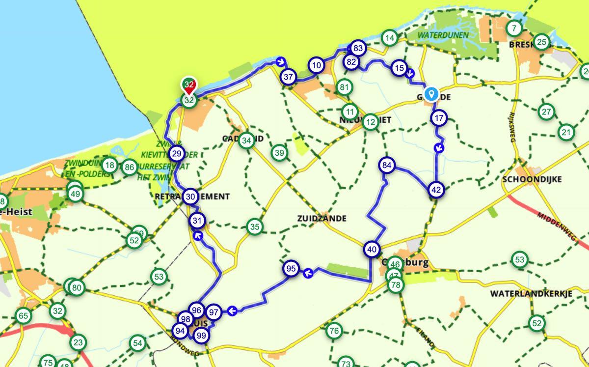Fietsroute in Zeeuws-Vlaanderen