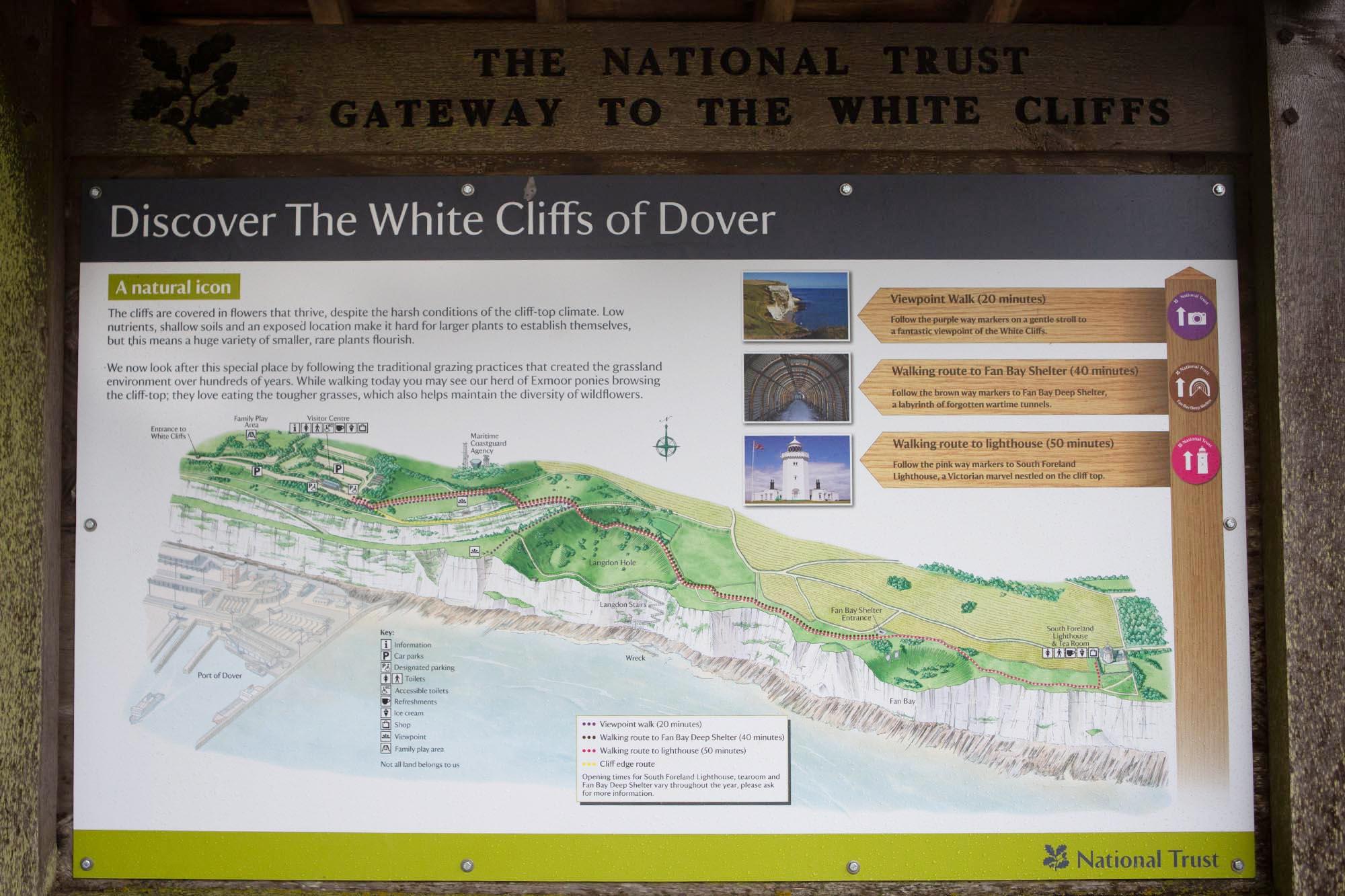 Krijtrotsen Dover Zuid-Engeland plattegrond