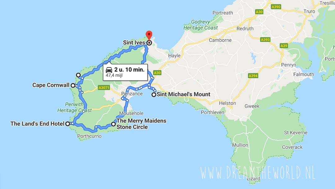 Route schiereiland Penwith Cornwall Engeland