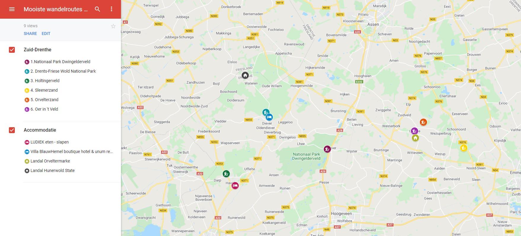 Plattegrond mooiste wandelroutes Drenthe