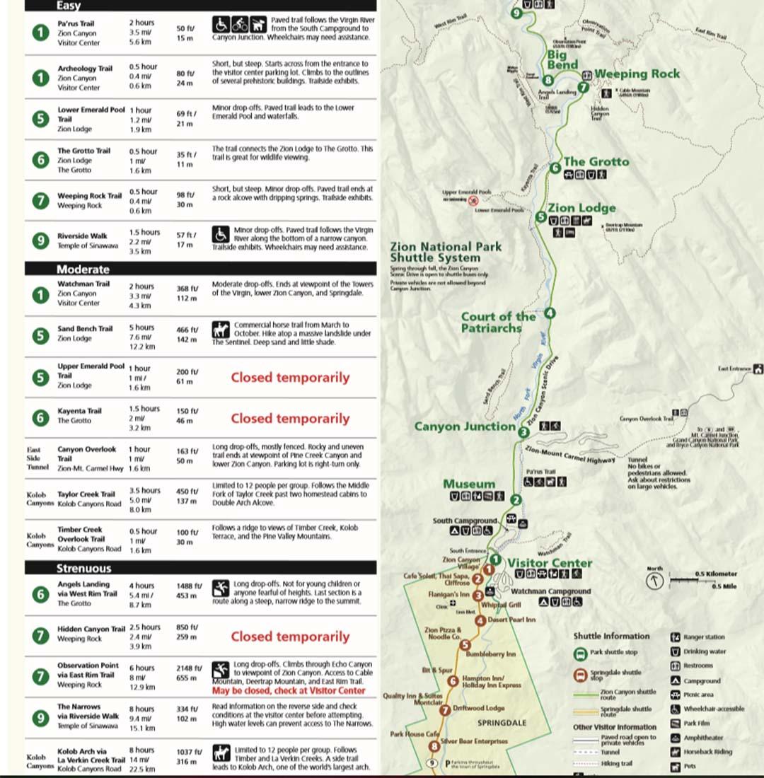 Shuttlebus Zion Park plattegrond
